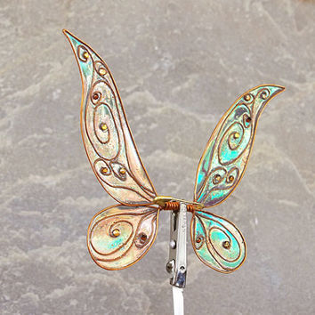 1/15  OOAK Fairy Iridescent wings for Dolls  - Tinkerbell - Amber / Green