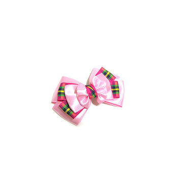 Check Ribbon Hair clip, hair pin, hair accessory for women and kids,