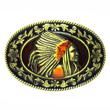 Bronze Indian Chief Floral Flower Native American Western Motorcycle Belt Buckle Free Shipping