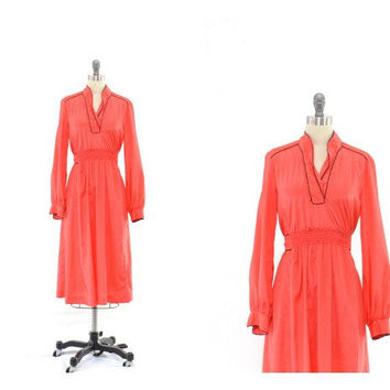 Vintage 60s Little Red Dress - Long Sleeved Dress - Jonathan Logan - Shirt Dress- L XL 14