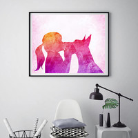 Great Dane print Girl with great Dane Dog print Dog poster Kissing her dog Modern wall art Poster print Pets gift ArtPrintsByChrista