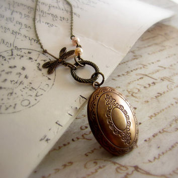 Dragonfly Locket Necklace Antique Vintage style Nature inspired Oval locket Carved Antique bronze