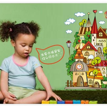 Castle children room wall stickers in the household adornment wall stick on the wall SM6