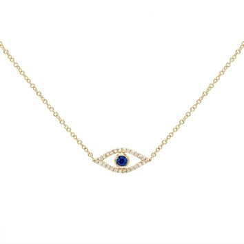 Diamond Evil Eye Necklace 14K