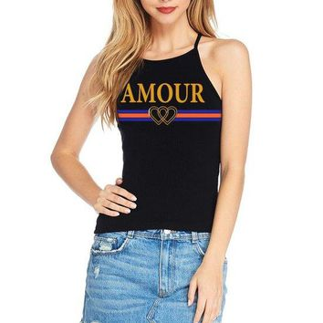 Women's Soft Ribbed Knit Halter Neck Tank Top with Amour Print