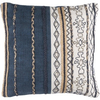 Navy Tribal Stripe Throw Cushion