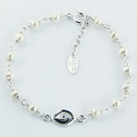 Silver Evil Eye Bracelet with Freshwater Pearls