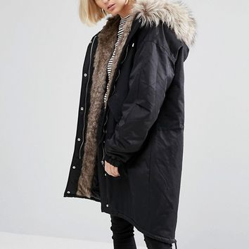 Noisy May Oversized Parka Jacket with Faux Fur Lining at asos.com