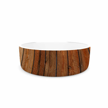 "Susan Sanders ""Rustic Wood Wall"" Nature Brown Pet Bowl"