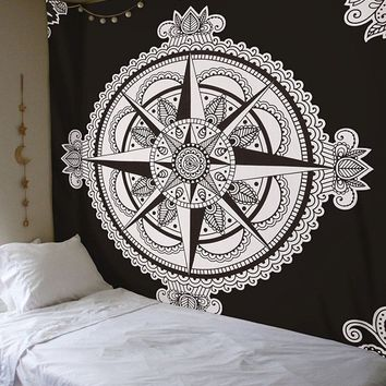 Cilected New Decorative Wall Hanging Tapestry Black And White Star Printed Indian Hippie Tapestry 148X200Cm Beach Blanket Mat