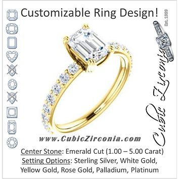 Cubic Zirconia Engagement Ring- The Chandita (Customizable Emerald Cut Design with Large Round Cut 3/4 Band Accents)