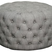 Lulu Round Fabric Tufted Ottoman, Shark