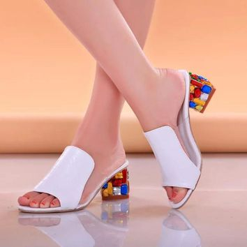 Rhinestone Peep Toe Heels Women Sandals Shoes Sexy Open Toe Wedge Slides Shoes Woman H