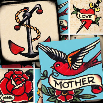 Vintage Tattoo Designs Sailor Jerry Tattoo Flash Digital Download Anchor Bird Mom Printable Collage Sheet 1.5 inch squares -- piddix 884