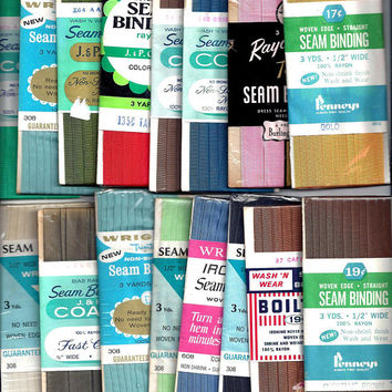 One, 1940-1970s Vintage Packaged Rayon Seam Binding, 3 Yard Package, Wrights, Penneys, Coats, Royal Swan, Boiltex, Home Sewing Notions Trim