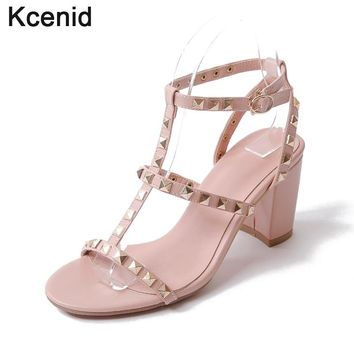 Kcenid Plus size 33-43 women sandals new hot rivets T-strap fashion studs thick high heel casual women shoes pink black beige