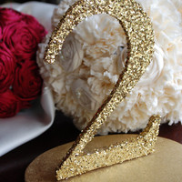 Glitter Wedding Table Numbers - Gold or Silver 1-10