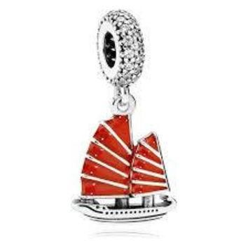 Pandora Pendant Chinese Junk Ship Dangle Red Enamel & Clear CZ Authentic Pandora