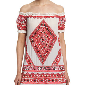 Off-The-Shoulder Embroidered Peasant Top, White/Red