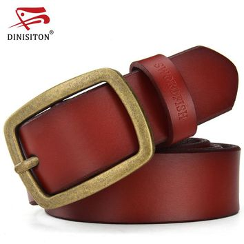 Genuine Leather Belts For Men Metal Pin Buckle Classic Style Waistband Wide Belt Cinctures Hombre TC