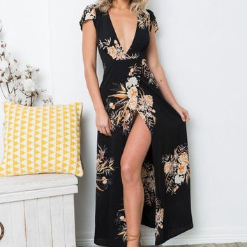 Fashion Flower Print Deep V-Neck Short Sleeve Chiffon Maxi Dress
