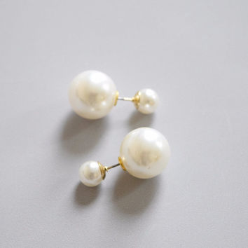 White Double Pearl Stud Earrings