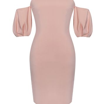 Vanna Salmon Pink Off Shoulder Puffy Sleeve Stretch Crepe Dress