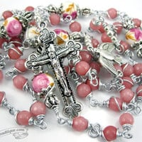 Morganite Pink Unbreakable Rosary confirmation gift pink rosary catholic gift keepsake rosary catholic rosaries ladies rosary girls gift