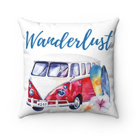 VW Bus Wanderlust Beach Theme Throw Pillow, Beach Home Decor, Surf Decor