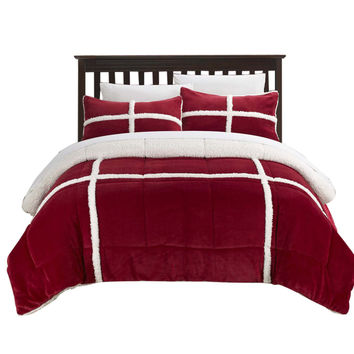 Camille Mink Chloe Sherpa Lined 3 Piece Comforter Set King & Queen Red