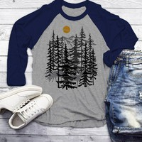 Men's Forest T Shirt Hand Drawn Shirts Deer Woods Hipster Camping Explore Graphic Tee 3/4 Sleeve Raglan