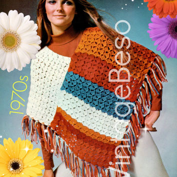 Poncho Crochet Pattern Retro 1970s Easy Crochet Pattern Shell Stripe Shawl Crochet Pattern Instant Download PDF Pattern Vintage Beso