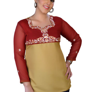 Women's Top Silk Blouse in Maroon Tunic Kurti