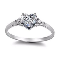 Cassie: 0.81ct Heart-cut Ice on Fire CZ Promise Friendship Engagement Ring 925 Silver, 3135