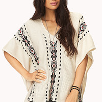 FOREVER 21 Worldly Buttoned Poncho Sweater Taupe/Black