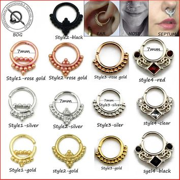 Small Size 1 Piece Real Septum Ring Pierced Piercing Septo Nose Ear Cartilage Tragus Helix Piecing Clicker Ring 16g Body Jewelry