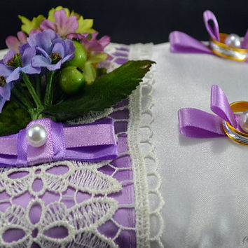 Ring bearer pillow Wedding with Lace and Flowers for Weddings - Color Lilac and White or Lilac and Ivory for Bride and Groom