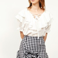 Roella Ruffle Gingham Check Skirt Discover the latest fashion trends online at storets.com