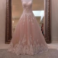 Sleeveless Ball Gown Wedding Dress with Lace Bodice Trim Custom Size 0 2 4 6 8