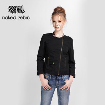 Jacket Autumn Black Punk Style Seven Sleeve O-Neckline Fall Clothing Cool Female Short Slimming Thin Coat