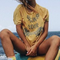 Cute Sun Your Buns Vintage Graphic Tee With Yellow Tie Dye Wash