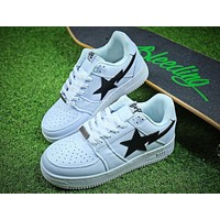 Bape Sta Sneakers White Black Shoes - Sale-1