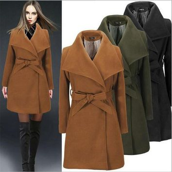 Women Winter Wool Coat 2017 European Latest High Quality Woolen Coat Solid Slim Elegant High-End Casual Big Yards CoatA2362