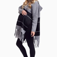 Grey-Striped-Fringe-Knit-Sweater
