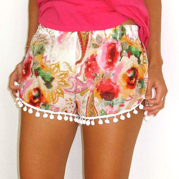 White Floral Print Shorts with Fringe