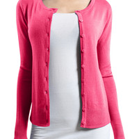 Womens Basic Round Neck Fine Knit Cardigan