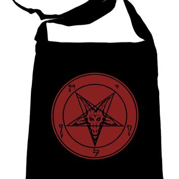 Solid Red Sabbatic Baphomet Crossbody Sling Bag Inverted Pentagram