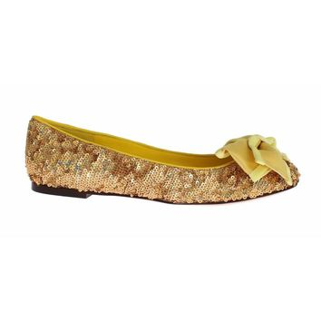 Dolce & Gabbana Yellow Sequined Silk Loafers Flat Shoes