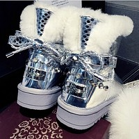 One sheep fur boots with a short barrel Terry bow tide female winter snow boots