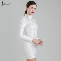 Missord 2016 Sexy high-necked long-sleeved sequin Dress FT4735